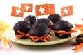 Halloweenowe czekoladowe babeczki Zdjęcia Stock