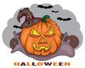 Hallowen card with orange angry halloween pumpkin Royalty Free Stock Photos