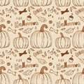 Hallowen hand drawn seamless pattern use for wallpaper textiles fills web page background Stock Photography