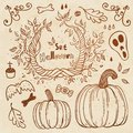 Hallowen hand drawn set autumn template use for wallpaper pattern fills web page background Royalty Free Stock Photos