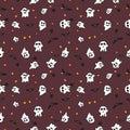 Hallowen pattern black bats, white ghost and orange pumpkin on red background Royalty Free Stock Photo