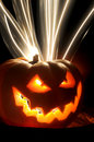 Hallowen pumpking terror lights inside flows clandle dark Stock Photo