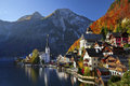 Hallstatt austria image of famous alpine village halstatt during colourful fall morning Royalty Free Stock Image