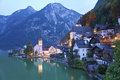 Hallstatt austria image of famous alpine village halstatt during twilight blue hour Stock Photo