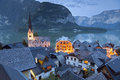 Hallstatt austria image of famous alpine village halstatt during twilight blue hour Stock Image