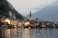 Hallstatt the beautiful town at sunset most small in austria picture was taken on board a pleasure boat Royalty Free Stock Photography