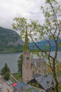 Hallstatt church city and hallstatter see austria Royalty Free Stock Photo