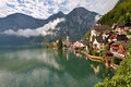 Hallstatt at fog view of upper austria Stock Images