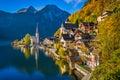 Hallstatt mountain village in fall, Salzkammergut, Austria Royalty Free Stock Photo