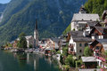 Hallstatt village in the alps of austria summer Royalty Free Stock Photo