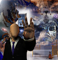 Hallucinogenic abstract with faceless man Stock Photography