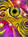 Hallucinogenic eye style and pattern Royalty Free Stock Images