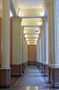 Hallway and columns of historic building architectural detail inside in saint paul minnesota Royalty Free Stock Photo