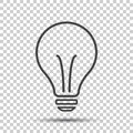 Halogen lightbulb icon. Light bulb sign. Electricity and idea symbol. Thin line icon on isolated background. Flat vector