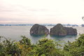 Halong Bay in Vietnam with a lot of islands in sunset time . Royalty Free Stock Photo