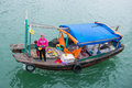 Halong bay, Vietnam mar 13:: fruit mobile food shop on boat at H Royalty Free Stock Photo