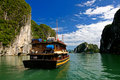 Halong Ha Long Bay and rock mountains with cloudy Royalty Free Stock Images