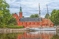 Halstad castle the old halmstad on the banks of the river Royalty Free Stock Image