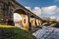 Haltwhistle skew arches viaduct railway also known as alston was constructed in with six to cross the south tyne river Stock Photography
