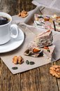 Halva dessert and black coffee Royalty Free Stock Photo