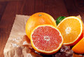 Halved fresh orange varieties Royalty Free Stock Photo