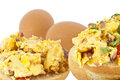 Halved roll with scrambled eggs Stock Photo