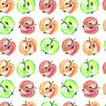 Halves of apple watercolor seamless vector pattern