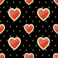 Halves of watermelon and seeds on a black backgrou background seamless pattern fabric ornament Royalty Free Stock Photo
