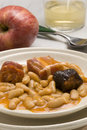 Ham and beans, Asturias style. Spanish cuisine. Fa Royalty Free Stock Photography