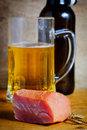 Ham and beer Royalty Free Stock Photo