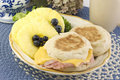 Ham and Cheese English Muffin Breakfast Stock Photo