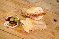 Ham and cheese sub traditional spanish together with a pickles tapa Stock Images