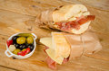 Ham and cheese sub traditional spanish together with a pickles tapa Stock Photography