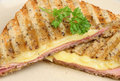 Ham cheese toastie toasted sandwich with and Royalty Free Stock Photo