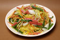 Ham chow mein chinese style noodle and vegetable Stock Image