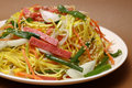 Ham chow mein chinese style noodle and vegetable Royalty Free Stock Photo