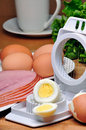Ham and eggs boiled sliced Stock Images
