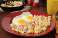 Ham eggs and hash browns southern style with diced Stock Image