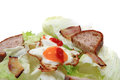 Ham and eggs with lettuce and bread Royalty Free Stock Photo