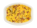 Ham eggs and potatoes breakfast TV dinner in a tray