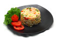 Ham fried rice on white background Royalty Free Stock Photo