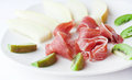 Ham with fruit plate snack of and Stock Photography