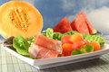 Ham with melon Royalty Free Stock Images