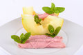 Ham and melon. Royalty Free Stock Photo