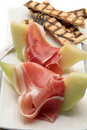 Ham and melon dinner Royalty Free Stock Images