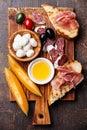 Ham, melon, Mozzarella Royalty Free Stock Photo