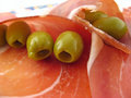 Ham and Olives Stock Image