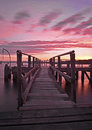 Ham park pier in the evening uk this beautiful wooden is poole south dorset Stock Photo