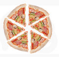 Ham, and pepper pizza slices Royalty Free Stock Photography