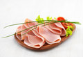 Ham on plate pork wooden Royalty Free Stock Image